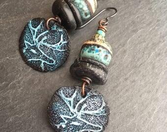 Midnight Huntress, Deer Petroglyph Earrings, Cairn Rocks, Gemstone Stack, Artisan Ceramic, Rustic Earrings, Tribal Earrings, Primitive