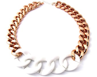Oversize Rose Gold and White Chunky Curb Chain Statement Necklace