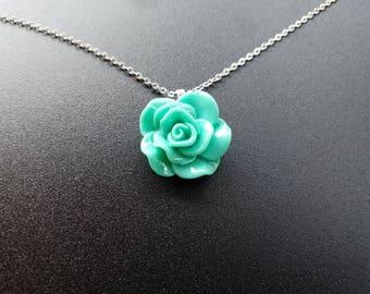 Dark Teal Rose Pendant