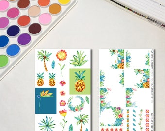 Tropical Plants Pineapple Flower Planner Sticker Sheets, The Ones with Tropical Plants Mini Kit, Rainbow Color Watercolor Foliage