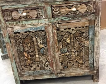 Antique Media Sideboard Console Buffet Ink Block Wooden Pieces Decorative Design Storage Chest Shabby Chic Interiors