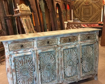 Distressed Blue Large Sideboards Drawer Chest , Mandala Carved Media TV Storage Cabinet Console