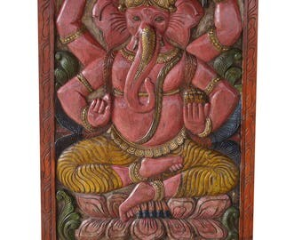 Vintage Hand Carved Ekakshara Ganapati Barn Door Panel Zen Farm House Electic Decor
