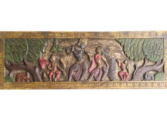 Antique Vintage Krishna Fluting with Radha Headboard in Vrindavan Wall Sculpture, Yoga, mediation Decor FREE SHIP Early Black Friday