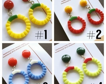 """vintage reproduction of carved bakelite hoop earrings - made from """"fab-a-lite"""" WWII 40s"""