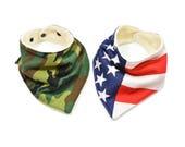 All American Bandana Bib Set | American Twin Bibs | American Flag and Camo Bandana Bibs | American Bibdanas
