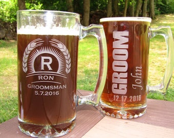 Groomsmen Beer Mugs Set of 8  Monogrammed Wedding Party Gifts Beer Personalized Beer Etched Father of Bride or Groom,Bridesmaids Engraved