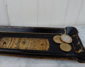 French toleware antique pharmacy advertising tray tin coin tray pen tray antique tole original pharmacy promotion Paris advertising