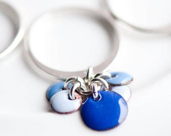 Blue Dangle Charm Ring, Boho Jewelry, Colorful Fun Ring, Enamel Ring, Ring for Women Girlfriend, Boho Ring, Colorful Jewelry, Dangle Ring