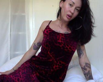 90s Velvet LEOPARD PRINT Club Dress