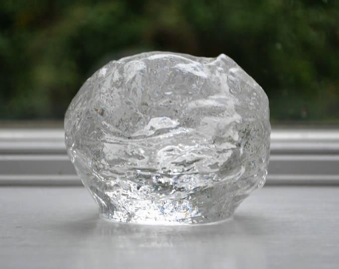 Swedish Kosta Boda Snowball Glass Candle Holder Large Ann Warff