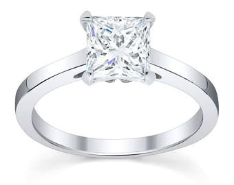 Forever One Moissanite Engagement Ring with Princess Forever One Moissanite  (6.5mm 1.50DEW), 14kt White Gold Solitaire