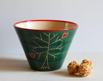 Green bowl  Breakfast bowl pets lovers Ceramic bowl Small bowl Pottery bowl Handmade bowl
