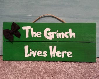 The Grinch wall decor Christmas sign holidays