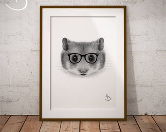 CUTE HIPSTER HAMSTER Drawing download, Hamster decor, Hipster Hamster Print, Printable Hamster Poster, Printable Decor, Hipster Animal, Pdf