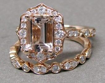 Emerald Cut 8x6 Morganite Engagement Ring Diamond Bridal Set Wedding 14k Roe Gold 1 9/10ct Total Weight Vintage Scalloped Design