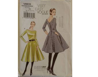 "Part UNCUT Vogue #8615 Sewing Pattern, Easy to Sew Flared Rockabilly Skirt Dress 2 Lengths 3 Sizes UK 8 10 12 Bust 31.5"" 32.5"" 34"""