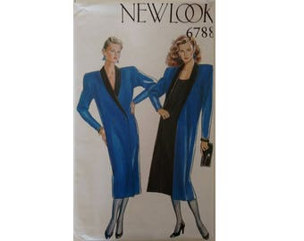 "UNCUT New Look #6788 Shawl Collar Tuxedo Duster Coat Jacket Dress Sewing Pattern 6 Sizes UK 8 10 12 14 16 18 Bust 31.5"" 32.5"" 34"" 36"" 38"" 40"