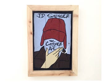 Catcher In The Rye, J D Salinger, Classic book cover hand-painted on reclaimed pallet wood, wood sign, rustic art, Holden Caulfield