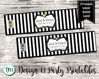 Black White Stripe with Gold or Silver Wedding Engagement Water Bottle Labels Digital Printable