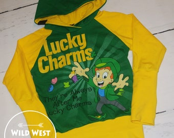 OOAK Upcycle Lucky Charms Grow With Me Hoodie 3-6