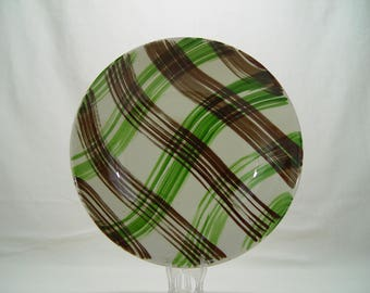 Stetson Scots Clan Green and Brown Plaid Serving Bowl, Vegetable Bowl