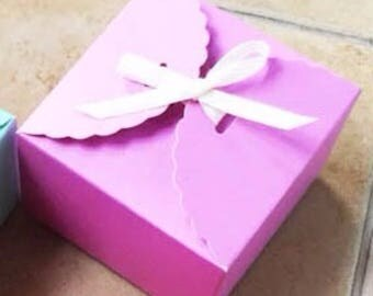 50x Purple Paper Boxes | Bomboniere Favour Box | Wedding & Party Gift Christmas Box for Chocolate Bakery Cookie Candy 9x9x5