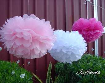 18x Mixed Size Pinks White Tissue Paper Pom Poms Wedding Baby Shower Party Engagement Bridal Shower Housewarming Decorations