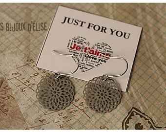 Mandalas earrings  Lace Dangle Earrings Snowflake Flower Earrings Bridesmaid Earrings Party Favors Gift (BO15) Stainless Steel