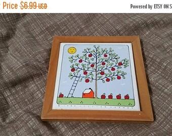 On Sale Lillian Vernon 1984  Red Apple Tree  Ceramic Trivet or Wall Hanging