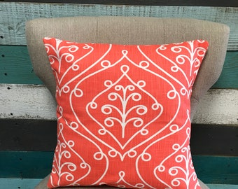 Scroll print coral pillow cover