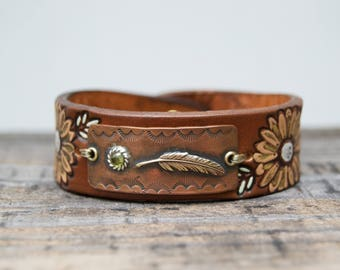 Distressed Leather & Copper Bracelet . Feather Peridot Stone. Boho. South Western Design. Cowgirl . Bracelet. Boho . By Nin and Bumm
