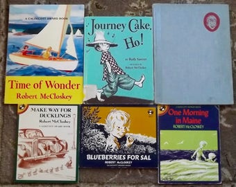6 Robert McCloskey books Make Way for Ducklings, Blueberries for Sal, One Morning in Maine