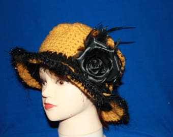 mustard and black rim with a black Flower hat