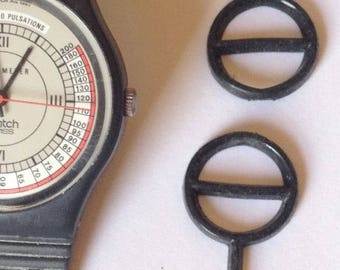 2 Vintage Black Watch Guard Small Medium  for Swatch Watch 1980s Old School Made USA Sealed Package
