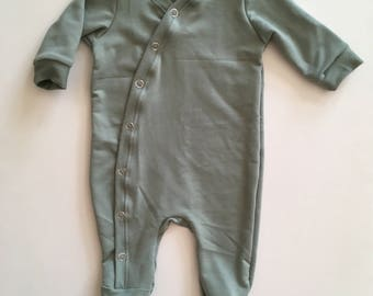 Sage Bamboo Knit Footed Romper