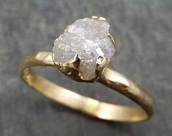 Raw Diamond Engagement Ring Rough Uncut Diamond Solitaire Recycled 14k gold Conflict Free Diamond Wedding Promise 0633