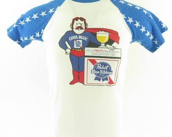 Vintage 80s Pabst Blue Ribbon Beer T-Shirt M Soft Thin 4th of July 50/50 [H79P_0-6]