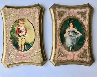 Italian vintage set 2 plaques pictures hand made Italy Boy Dog Dancing Girl Print Distressed Gold Norleans
