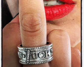 Etherial Sterling Silver Fuck You Ring, Fuck You Ring, Sterling Silver Handmade Biker Ring, Silver Badass Ring, Steampunk Biker Fuck Ring
