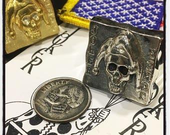Sterling Silver Poker Ring Silver Skull Joker Ring Texas Holdem Skull Ring Poker Skull Ring Silver Skull Joker Ring Joker Gambler Skull Ring