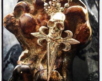 Skull Cross Pendant Cross Skull Pendant Skull Pendant Silver Skull Pendant Silver Skull Pendant Cross Necklace Badass Biker Cross Pendant