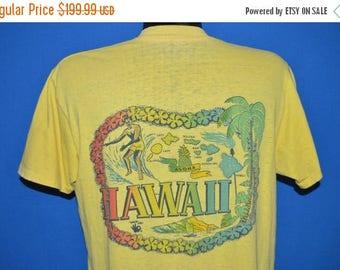 ON SALE 60s Hawaii Surfing Rainbow Distressed t-shirt Large