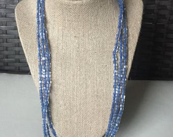 Beaded Necklace-Blue Glass Cube Beads-Women's Jewelry-Three Strand Toggle Clasp-Spring Jewelry