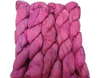 SALE New! Recycled Sari Silk Ribbon, 100g skeins , Irises
