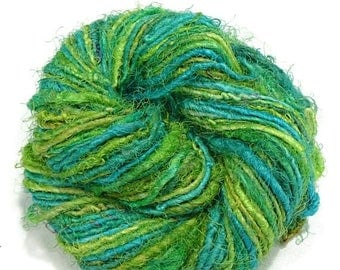 SALE Premium Recycled Sari Silk Yarn,  Lime/Aqua Mist