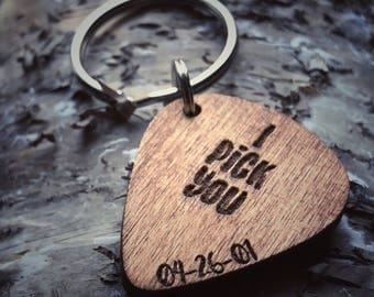 "Unisex Guitar Pick Keychain | Engraved Wood |Custom | Personalized | ""I Pick You"" 