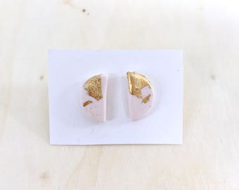White and gold half moon studs