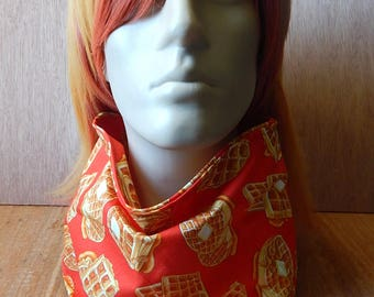 Red Waffle Large Fursuit Pet Bandana With Velcro, Cotton Bandana