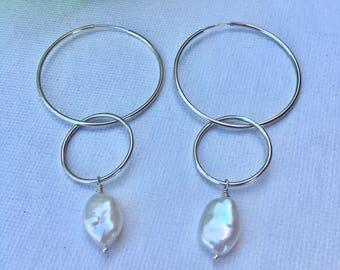 Sterling Silver Hoop Earrings with Fresh Water Keshi Pearls